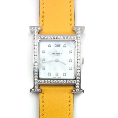Heure H Steel with Diamond Bezel and Markers on Yellow Epsom Leather Strap