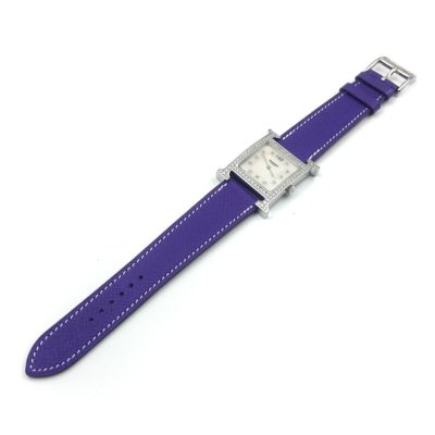 Heure H Steel with Diamond Bezel and Markers on Purple Epsom Leather Strap
