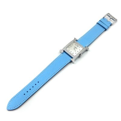 Heure H Steel with Diamond Bezel and Markers on Light Blue Epsom Leather Strap