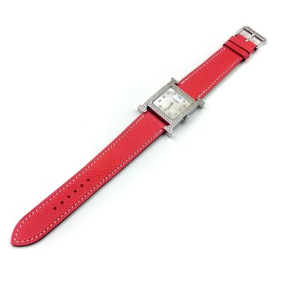 Heure H Steel with Diamond Bezel and Markers on Vermilion Epsom Leather Strap