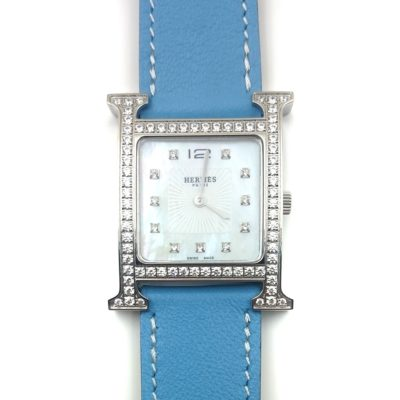 Heure H Steel with Diamond Bezel and Markers on Light Blue Fjord Leather Strap