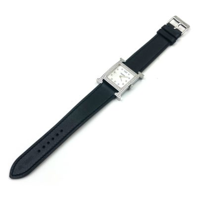 Heure H Steel with Diamond Bezel and Markers on Black Fjord Leather Strap
