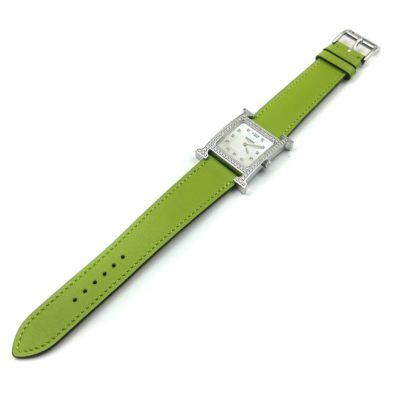 Heure H Steel with Diamond Bezel and Markers on Green Fjord Leather Strap
