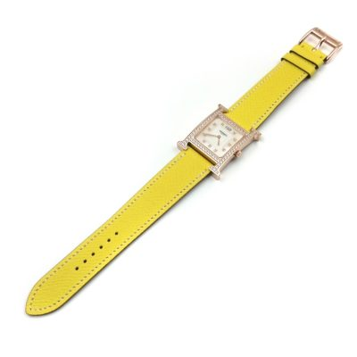 Heure H Rose Gold with Diamond Bezel and Markers on Yellow Epsom Leather Strap