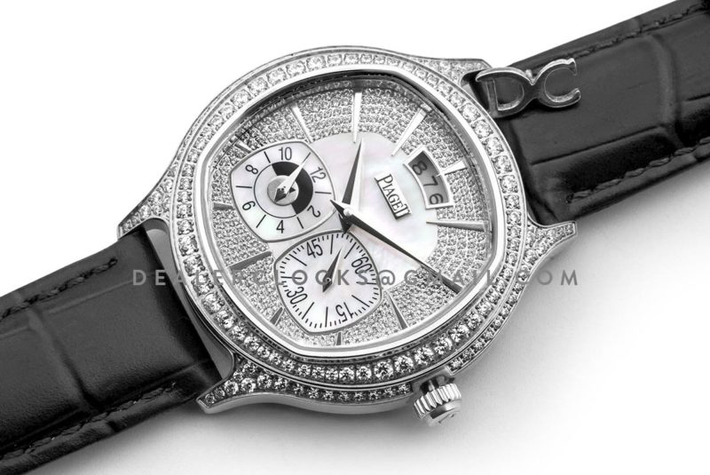 Black Tie Emperador Cushion White Dial in White Gold with Diamond Bezel and Dial