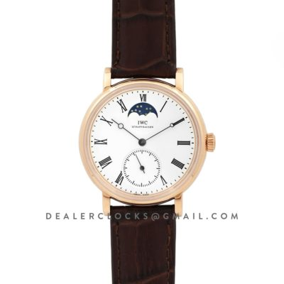 Vintage Portofino Hand Wound IW544803 White Dial in Rose Gold