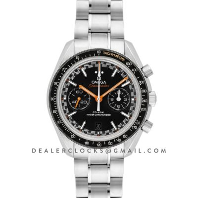 Racing Omega Co-Axial Master Chronometer Black Dial with Orange Hands in Steel
