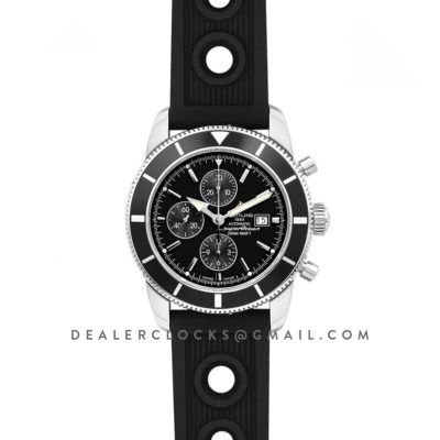 Superocean Heritage II Chronograph 46 Black Dial in Steel on Rubber Strap