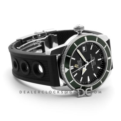 Superocean Heritage II B20 Automatic in Black Dial with Green Bezel on Rubber Strap