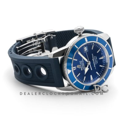 Superocean Heritage II B20 Automatic in Blue Dial with Blue Bezel on Blue Rubber Strap