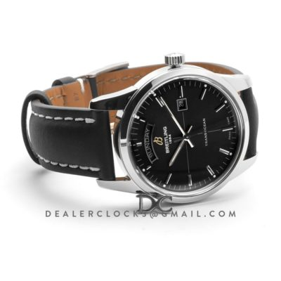 Transoccean Day & Date Black Dial in Steel on Leather Strap