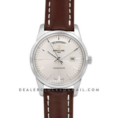 Transoccean Day & Date Silver Dial in Steel on Leather Strap