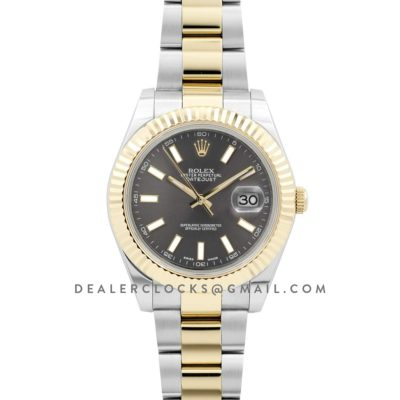 Datejust II 116333 Grey Dial in Yellow Gold/Steel with Stick Markers on Oyster Bracelet