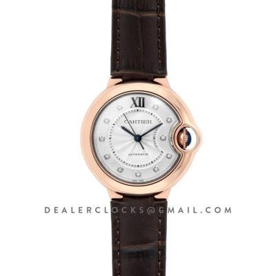 Ballon Bleu De Cartier 36mm White Dial with Diamond Markers in Pink Gold on Brown Leather Strap