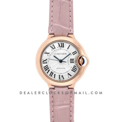 Ballon Bleu De Cartier 36mm Silver Dial in Pink Gold on Pink Leather Strap