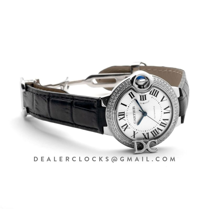 Ballon Bleu De Cartier 36mm White Dial with Diamond Bezel in Steel on Black Leather Strap