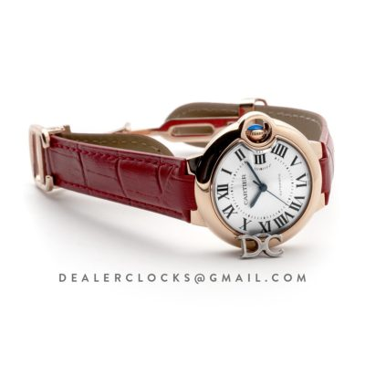 Ballon Bleu De Cartier 36mm White Dial in Pink Gold on Red Leather Strap