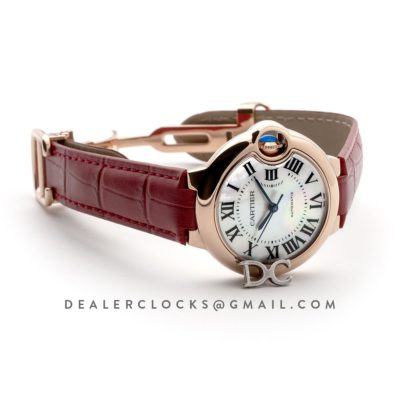 Ballon Bleu De Cartier 36mm White Dial with Roman Numeral Markers in Pink Gold on Red Leather Strap