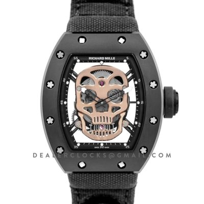 RM 052-01 Tourbillon Gold Skull in PVD on Black Nylon Strap