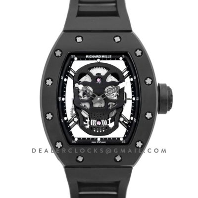 RM 052-01 Tourbillon Black Skull in PVD on Black Rubber Strap