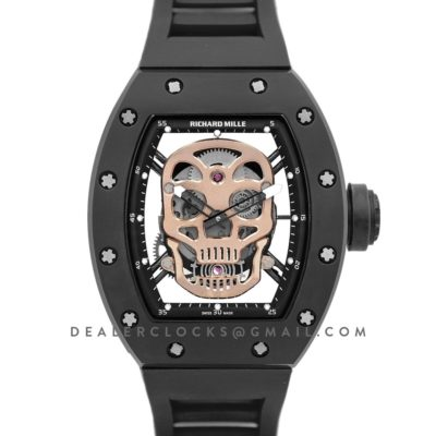 RM 052-01 Tourbillon Gold Skull in PVD on Black Rubber Strap