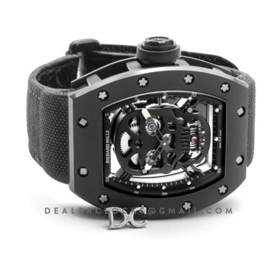 RM 052-01 Tourbillon Black Skull in PVD on Black Nylon Strap