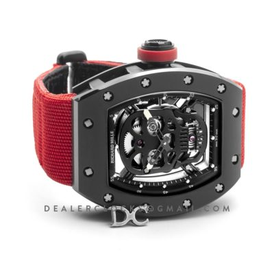 RM 052-01 Tourbillon Black Skull in PVD on Red Nylon Strap