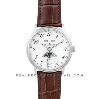 Villeret Quantieme Complet White Dial with Arabic Markers in Steel