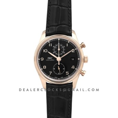 Portugieser Chronograph Classic IW3903 Black Dial in Rose Gold
