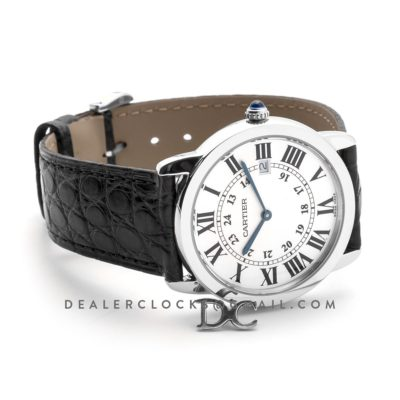 Ronde Solo de Cartier 36mm White Dial in Steel on Black Alligator Leather Strap
