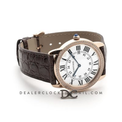 Ronde Louis Cartier Watch 36mm White Dial in Pink Gold on Brown Leather Strap