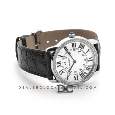 Ronde Louis Cartier Watch 36mm White Dial in White Gold on Black Alligator Leather Strap