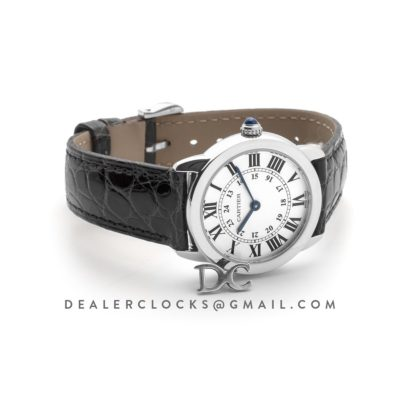 Ronde Solo de Cartier 29mm White Dial in Steel on Black Alligator Leather Strap