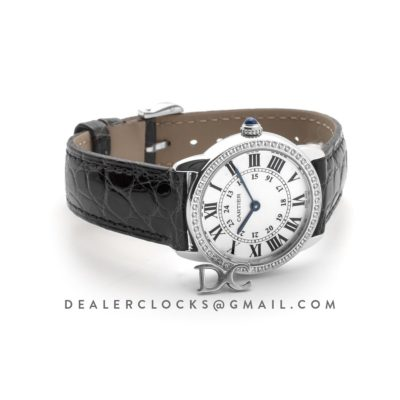 Ronde Louis Cartier Watch 29mm White Dial in White Gold on Black Alligator Leather Strap