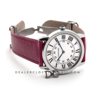 Ronde Solo de Cartier 36mm White Dial in Steel on Pink Leather Strap