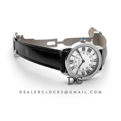 Ronde Louis Cartier Watch 29mm White Dial in White Gold on Black Leather Strap