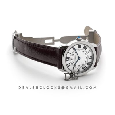 Ronde Solo de Cartier 29mm White Dial in Steel on Brown Leather Strap