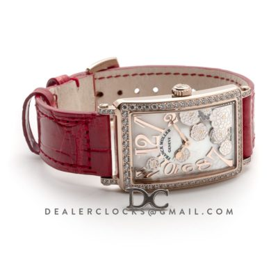 Long Island Peony in Rose Gold on Red Leather Strap