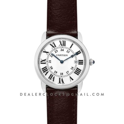 Ronde Solo de Cartier 36mm White Dial in Steel on Brown Leather Strap