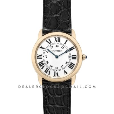 Ronde Solo de Cartier 36mm White Dial in Yellow Gold on Black Alligator Leather Strap