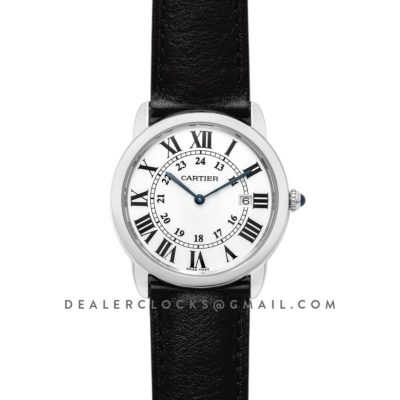 Ronde Solo de Cartier 36mm White Dial in Steel on Black Leather Strap