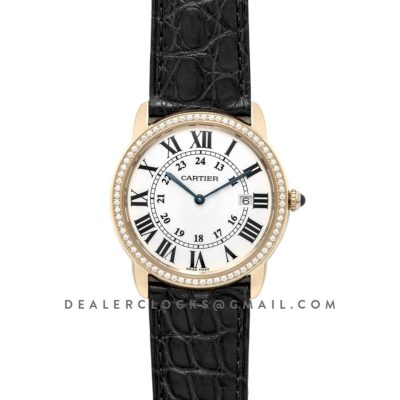 Ronde Louis Cartier Watch 36mm White Dial in Yellow Gold on Black Leather Strap