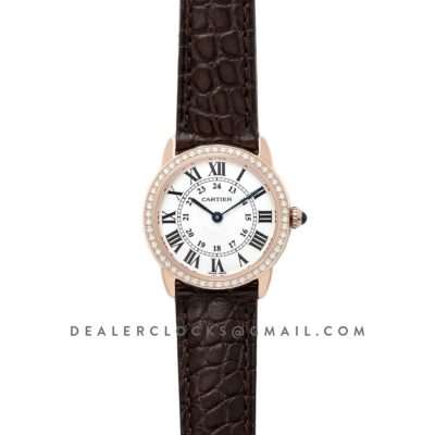 Ronde Louis Cartier Watch 29mm White Dial in Pink Gold on Brown Leather Strap