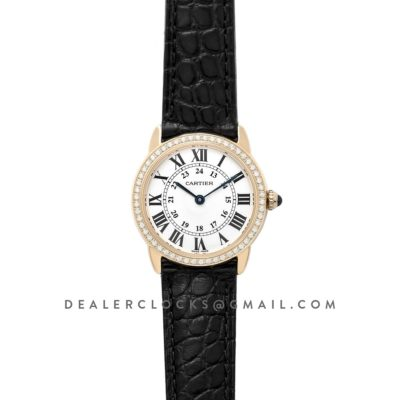 Ronde Louis Cartier Watch 29mm White Dial in Yellow Gold on Black Leather Strap