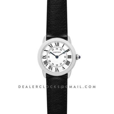 Ronde Solo de Cartier 29mm White Dial in Steel on Black Leather Strap