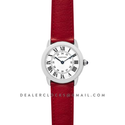 Ronde Solo de Cartier 29mm White Dial in Steel on Red Leather Strap