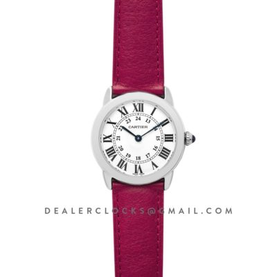 Ronde Solo de Cartier 29mm White Dial in Steel on Pink Leather Strap