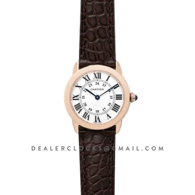 Ronde Solo de Cartier 29mm White Dial in Pink Gold on Brown Alligator Leather Strap