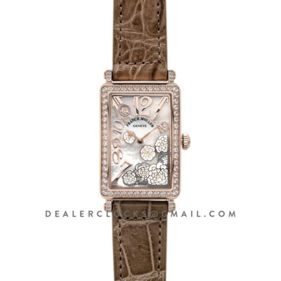Long Island Peony in Rose Gold on Brown Leather Strap