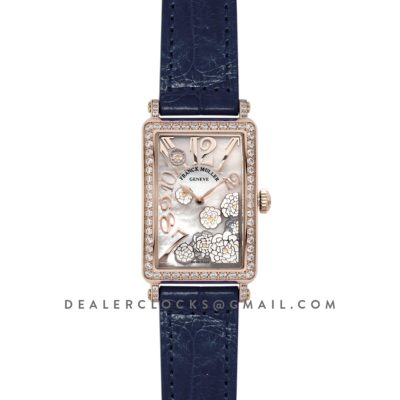 Long Island Peony in Rose Gold on Blue Leather Strap